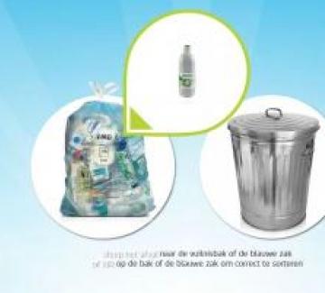 Illustratie van PMD-zak en vuilnisbak