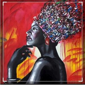 Afrikaans schilderij dame