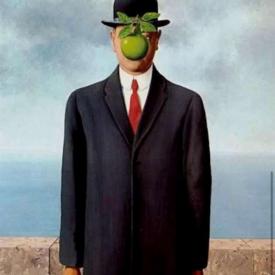 schilderij magritte man met appel