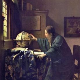 schilderij man raakt wereldbol aan