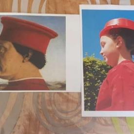 schilderij en nabootsing man rode hoed
