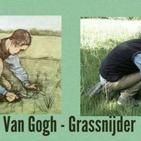 Van Gogh grassnijder schilderij en nabootsing