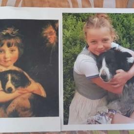 schilderij meisje met hond