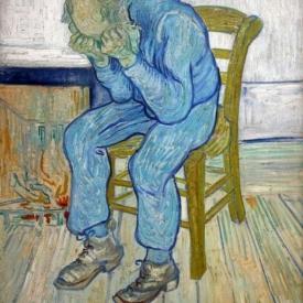 schilderij man verdriet