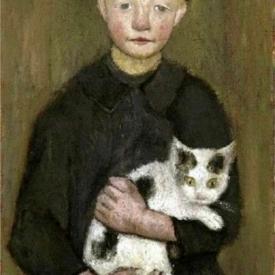 schilderij jongen met poes