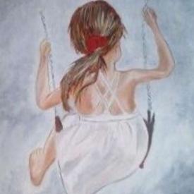 schilderij schommelend meisje