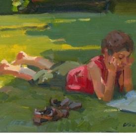 schilderij kind lezend in het gras