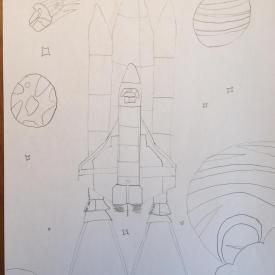 ruimteraket in potlood