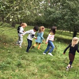 kinderen in boomgaard